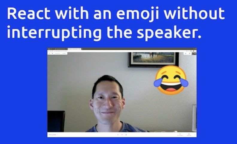 react extension for google meet offers you to express yourself using emojis and stickers