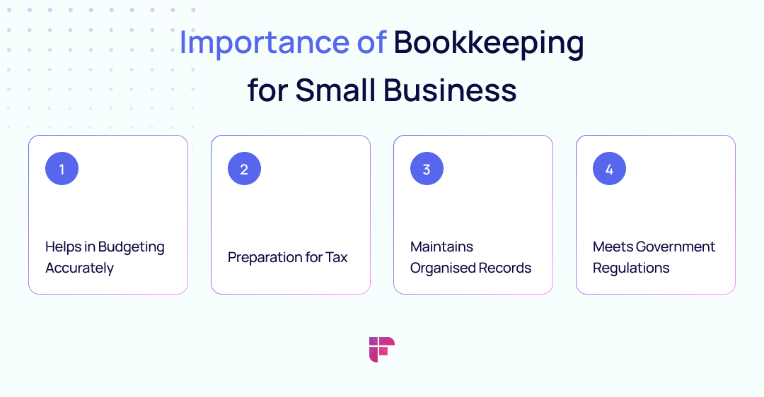 importance of bookkeeping for small businesses: helps in budgeting, tax preparation, organizing records, etc