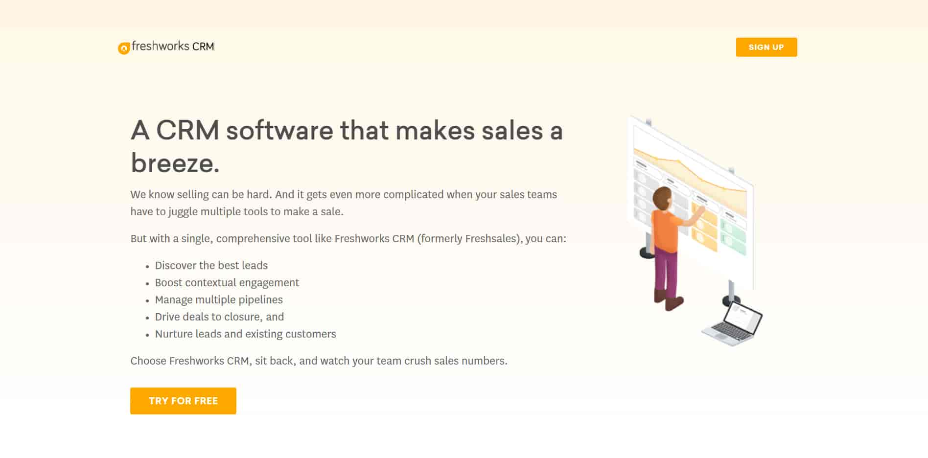 Freshwork is the best CRM for small business that combines sales with AI for better CRM goals